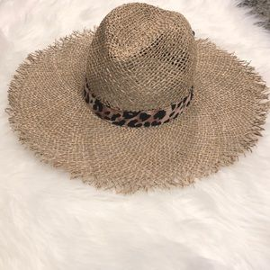 Express Fedora Straw Hat with Leopard Band
